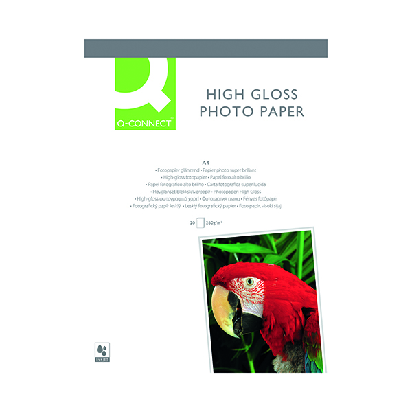 Q-Connect A4 White High Gloss Photo Paper 260gsm (Pack of 20) KF02163