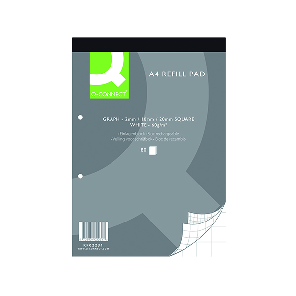 Q-Connect A4 Graph Refill Pad 80 Sheet (Pack of 10) KF02231