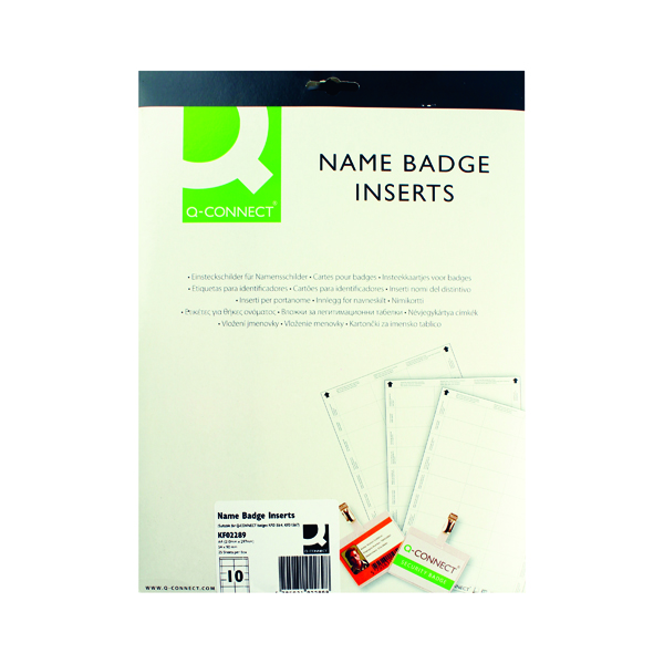 Q-Connect Name Badge Inserts 54x90mm 10 Per Sheet (Pack of 25)