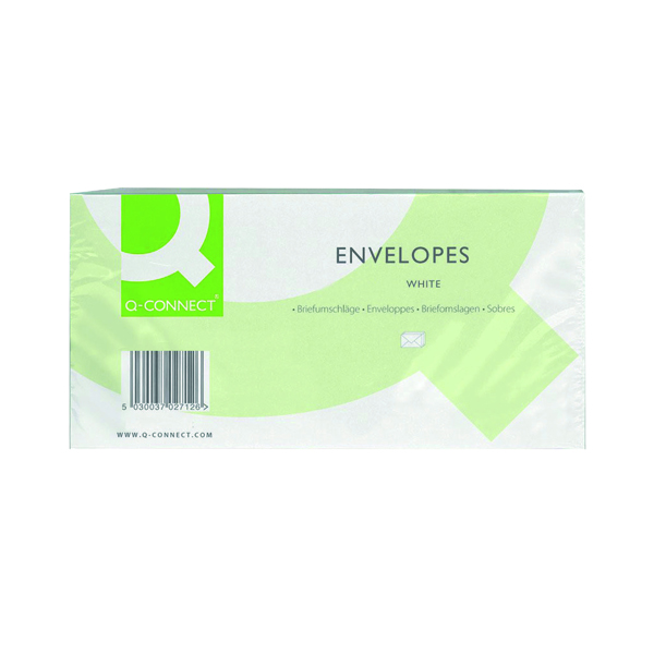 Q-Connect DL Envelopes Window Peel and Seal 100gsm White (Pack of 500)