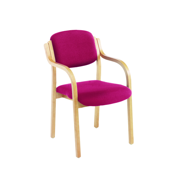 Jemini Claret Wood Frame Side Chair With Arms