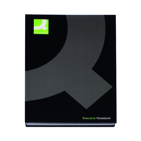 Q-Connect Hardback Casebound Notebook A4 Black (Pack of 3) KF03725
