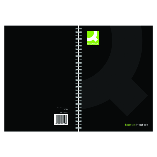 Q-Connect Hardback Wirebound Book A4 Black (Pack of 3)