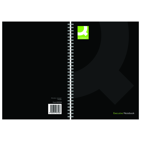 Q-Connect Hardback Wirebound Book A5 Black (Pack of 3)