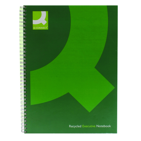 Q-Connect Recycled Wirebound Notebook A4 Green (Pack of 3) KF03731