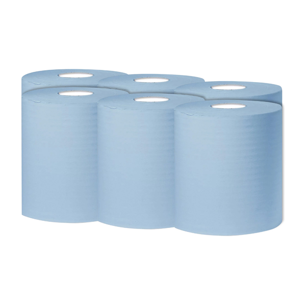 2Work 1-Ply Centrefeed Roll 300m Blue (Pack of 6)