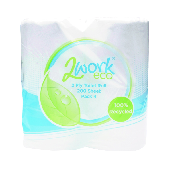 2Work Recycled 2-Ply Toilet Roll 200 Sheets (Pack of 36)