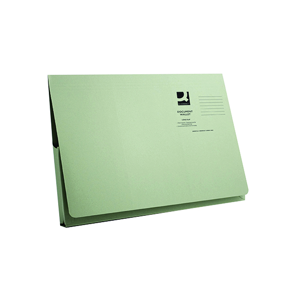 Q-Connect Long Flap Document Wallet Foolscap Green (Pack of 50)