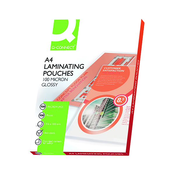 Q-Connect A4 Laminating Pouch 200 Micron (Pack of 100)