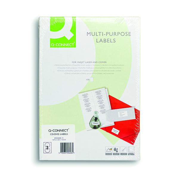 Q-Connect Full Face CD DVD Label 117mm Diameter 2 Per Sheet White (Pack of 100) KF05608