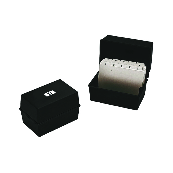 Image for Q-Connect Card Index Box 127 x 76mm Black KF10001
