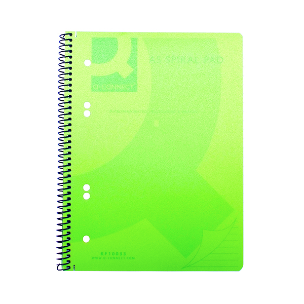 Q-Connect Spiral Bound Polypropylene Notebook 160 Pages A5 Green (Pack of 5)