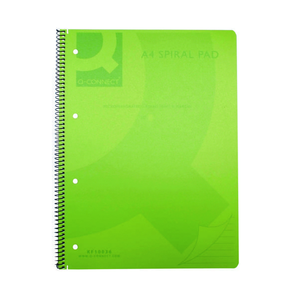 Q-Connect Spiral Bound Polypropylene Notebook 160 Pages A4 Green (Pack of 5) KF10036
