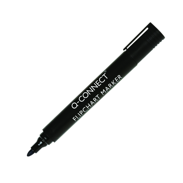 Q-Connect Flipchart Marker Pen Bullet Tip Black (Pack of 10) KF15392