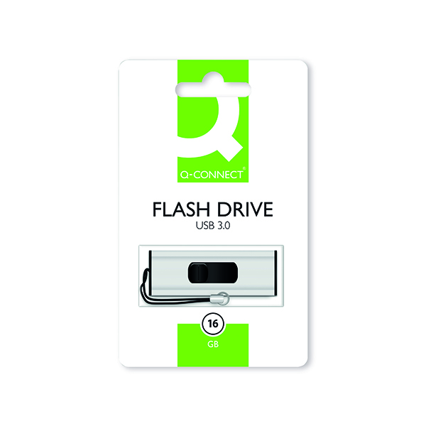 Q-Connect Silver/Black USB 3.0 Slider 16Gb Flash Drive 43202005