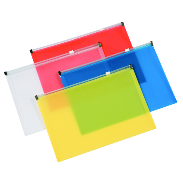 Q-Connect Document Zip Wallet A4 Assorted (Pack of 20) KF16552