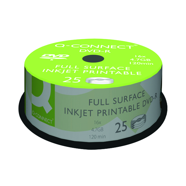 Q-Connect Inkjet Printable DVD-R Discs 16x 4.7GB (Pack of 25)