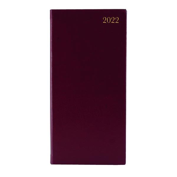 Slim Desk Diary Portrait Week To View Burgundy 2022