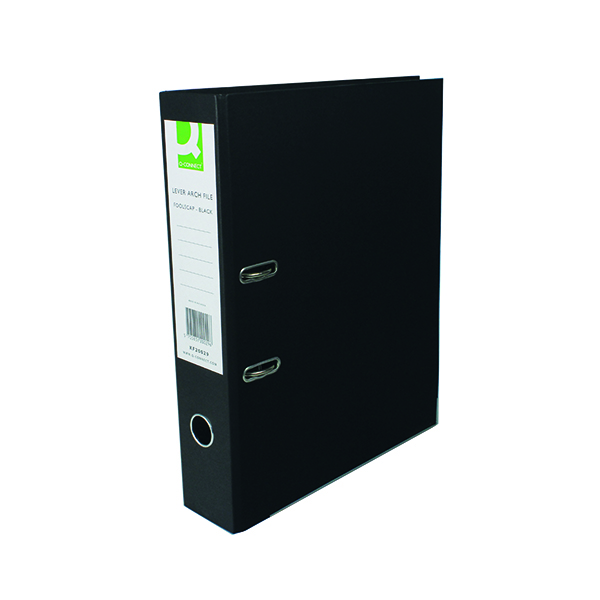 Q-Connect Lever Arch File Paperbacked Foolscap Black (Pack of 10) KF20029
