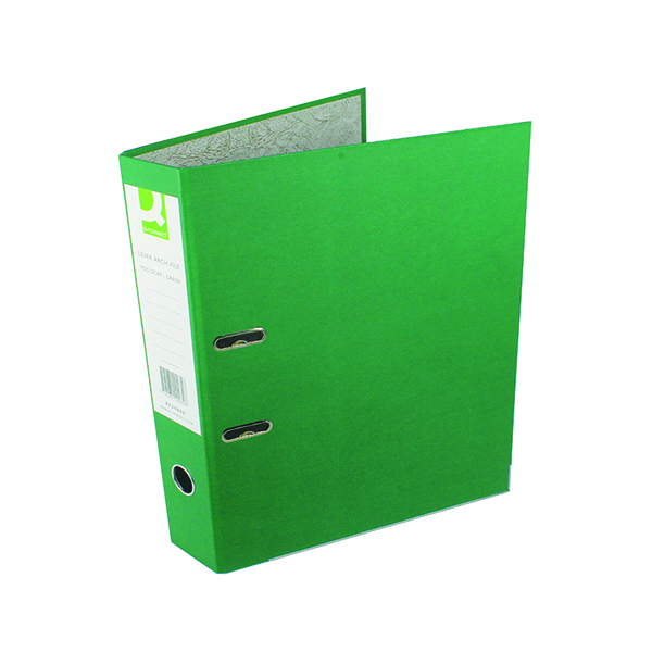 Q-Connect Lever Arch File Paperbacked Foolscap Green (Pack of 10) KF20032