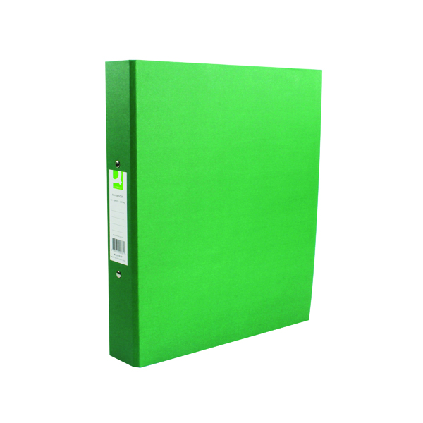 Q-Connect 2 Ring 25mm Paper Over Board Green A4 Binder (Pack of 10) KF20037