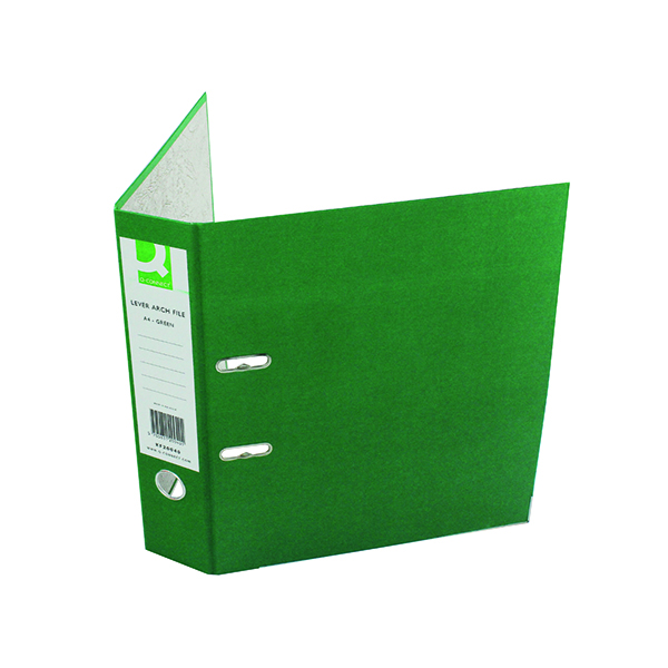 Q-Connect Lever Arch File Paperbacked A4 Green (Pack of 10) KF20040