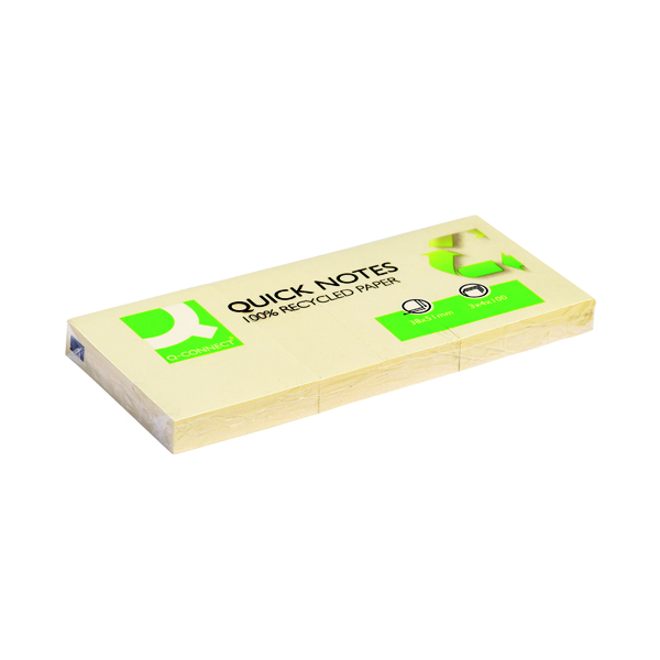 Q-Connect Recycled Quick Notes 38 x 51mm Yellow (Pack of 12)