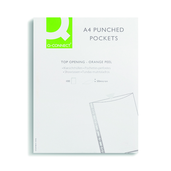 Q-Connect Punched Pockets Polypropylene 50 Micron A4 Embossed (Pack of 100) KF24001