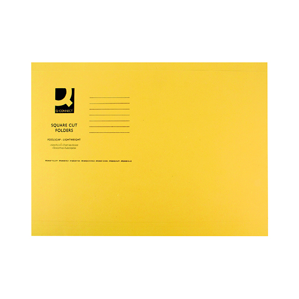 Q-Connect Square Cut Folder Lightweight 180gsm Foolscap Yellow (Pack of 100) KF26027