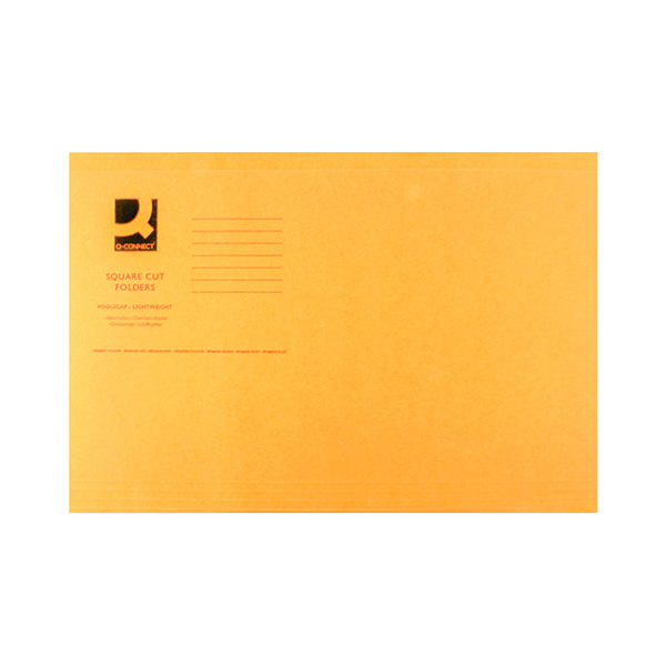 Q-Connect Square Cut Folder Lightweight 180gsm Foolscap Orange (Pack of 100) KF26030