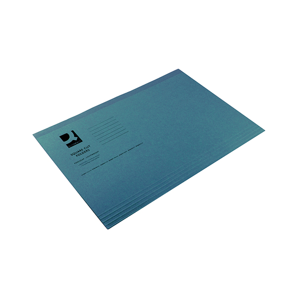 Q-Connect Square Cut Folder Lightweight 180gsm Foolscap Blue (Pack of 100) KF26033