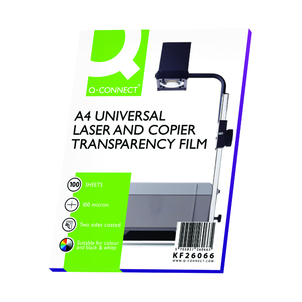 Q-Connect Clear Over Head Projector Film (Pack of 100)