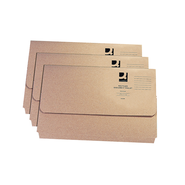 Q-Connect Document Wallet Foolscap Buff (Pack of 50) KF26090