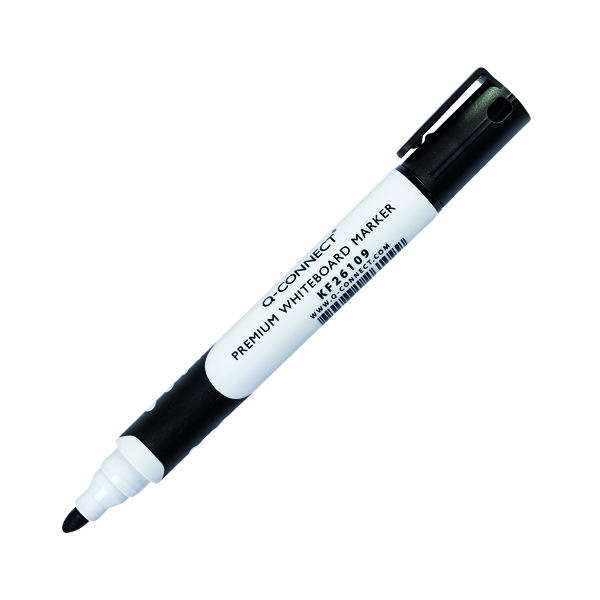 Q-Connect Premium Whiteboard Marker Bullet Tip Black (Pack of 10) KF26109