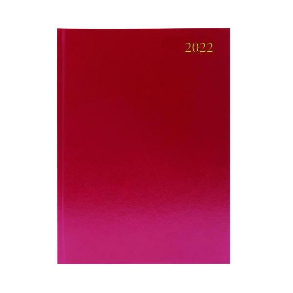Desk Diary 2 Pages Per Day A4 Burgundy 2022
