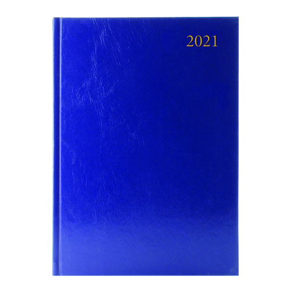 Desk Diary 2 Pages Per Day A4 Blue 2021