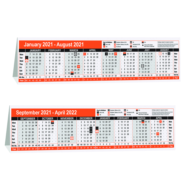 16 Month Desktop Calendar 280 x 80mm 2021