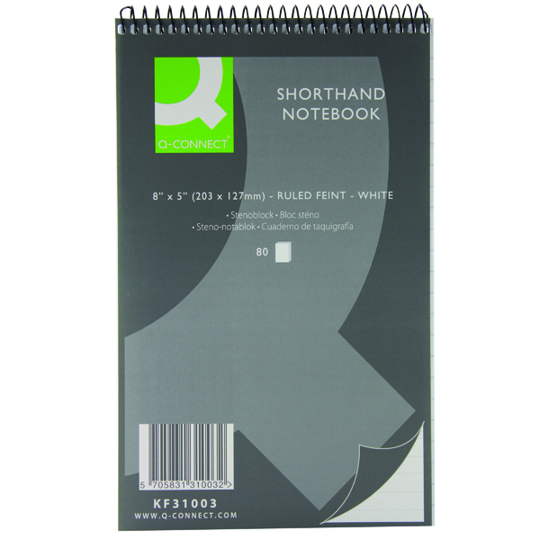 Q-Connect Feint Ruled Shorthand Notebook 160 Pages 203x127mm (Pack of 20) KF31003