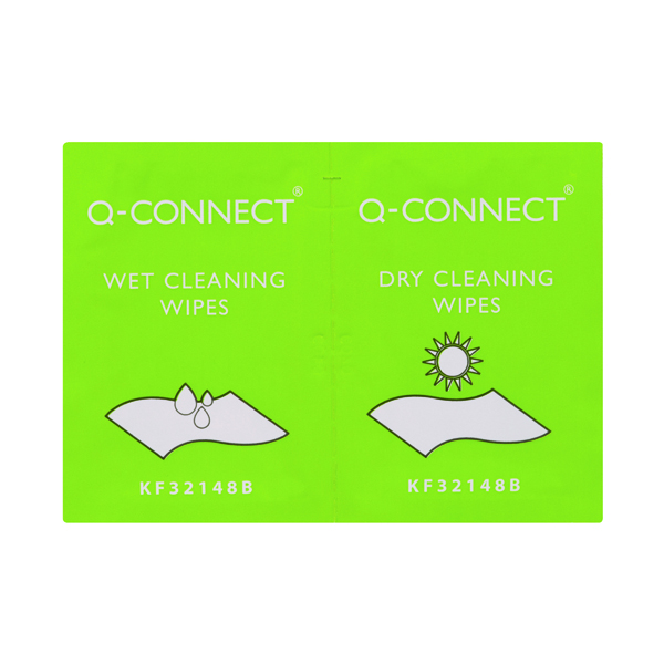 20 x Q-Connect Wet and Dry Wipes (Wet wipes for cleaning and dry wipes for polishing)