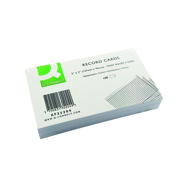 Q-Connect Record Card 127x76mm Ruled Feint White (Pack of 100) KF35204