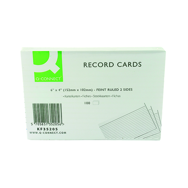 Image for Q-Connect Record Card 152x102mm Ruled Feint White (Pack of 100) KF35205