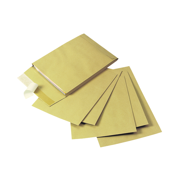 Q-Connect Envelope Gusset 305x254x25mm Peel and Seal 120gsm  Manilla (Pack of 100) KF3526