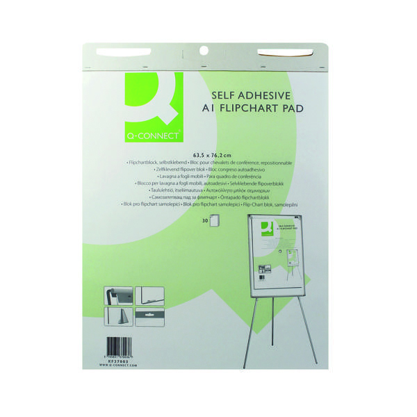 Q-Connect Self-Adhesive Flipchart Pad A1 30 Sheet (Pack of 2)