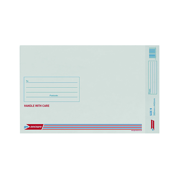 GoSecure Bubble Lined Envelope Size 9 300x445mm White (Pack of 50) KF71452