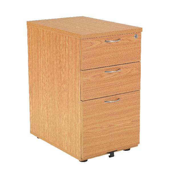 Jemini Oak 800mm 3 Drawer Desk High Pedestal