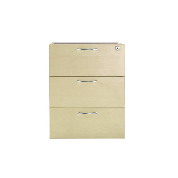Jemini Maple 3 Drawer Fixed Pedestal