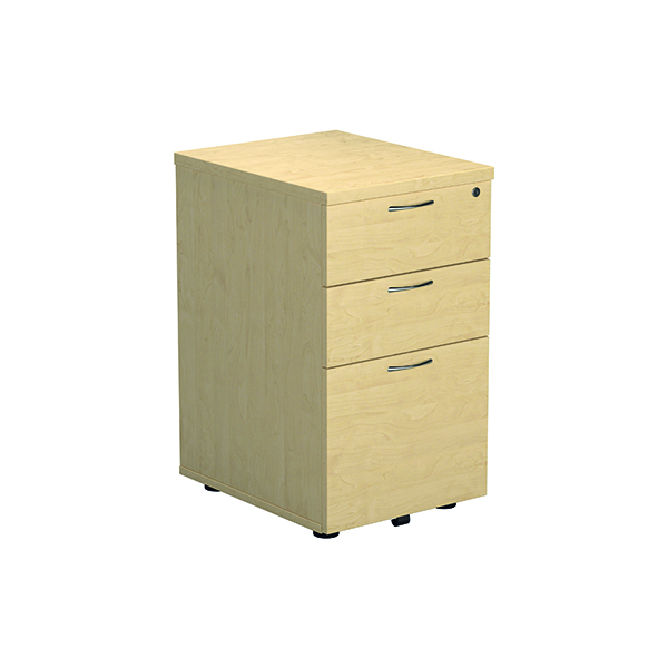 Jemini Maple 3 Drawer Under Desk Pedestal (Dimensions: W434 x D580 x H690mm)