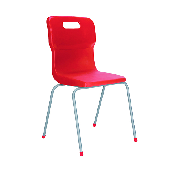 Titan 4 Leg Chair 380mm Red (Conforms to BS EN1729 Parts 1 and 2) KF72184