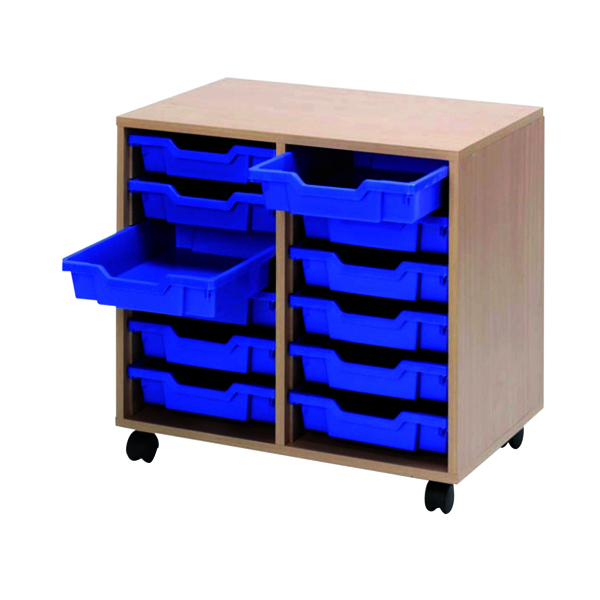 Jemini Mobile Storage Unit 12 Tray Beech (Dimensions: W710 x D495 x H650MM)