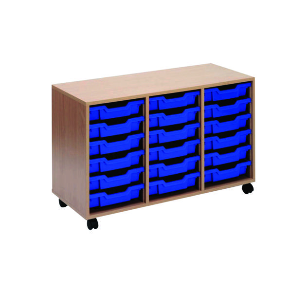 Jemini Mobile Storage Unit 18 Tray Beech (Dimensions: W1030 x D495 x H650MM) KF72340